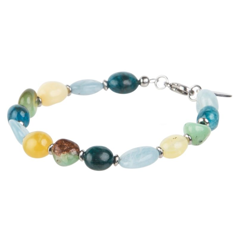 Mixed Apatite, Aquamarine, Opal, Chrysoprase bracelet