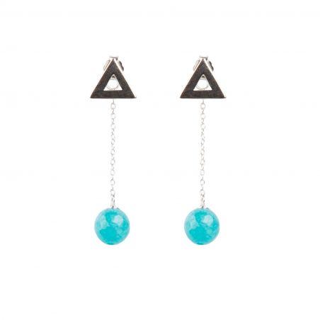 Modern Geometry Agate silver earrings