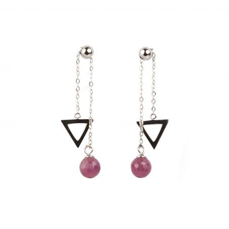 Ruby with sliding necklace silver earrings