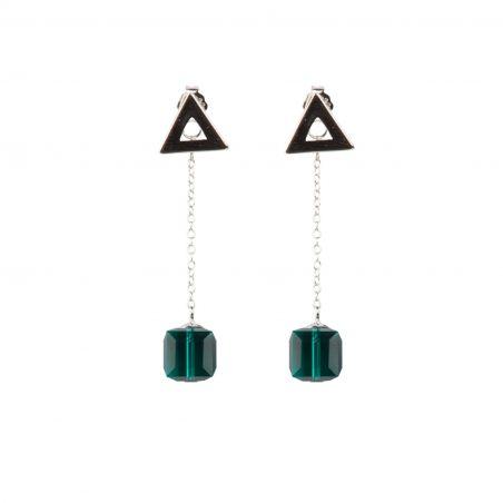 Swarovski Emerald silver earrings