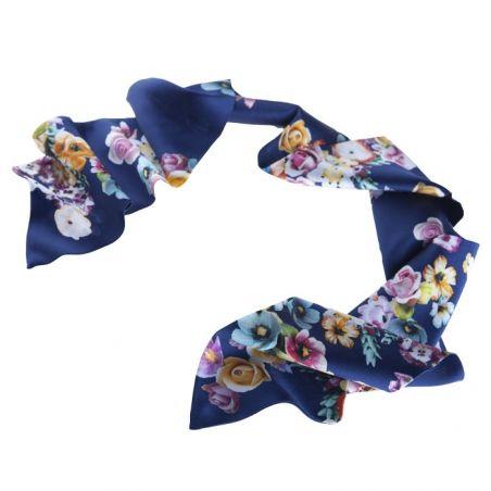 Eşarfă mătase naturală albastru buchet de flori
