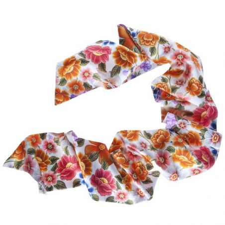 Flowers on white silk scarf