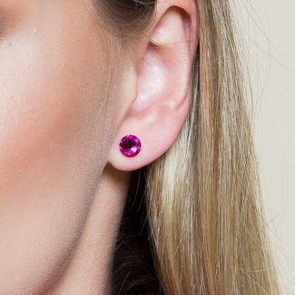 Swarovski Fuchsia silver earrings