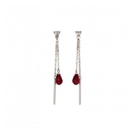 Set bijuterii argint Swarovski Siam Red