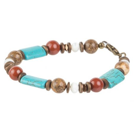 Gift: Silver pendant turquoise oval and Mixed Jasper, White pearl and Turquoise bracelet