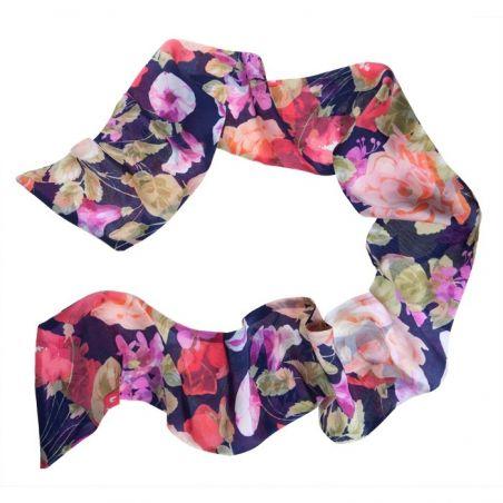 Eşarfă mătase naturală Midnight Roses