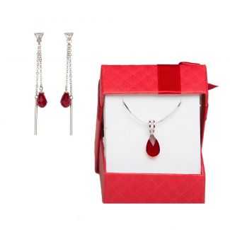 Swarovski Siam Red silver jewelry set