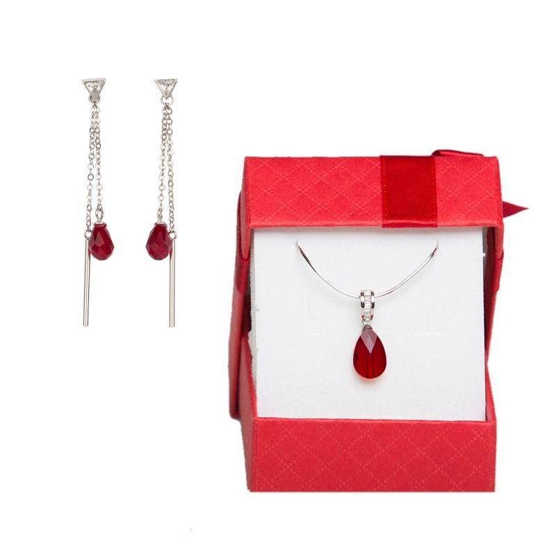 Swarovski Siam Red silver jewelry set