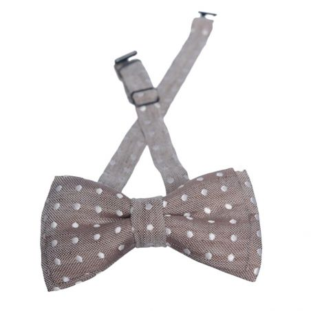 Beige and white dots silk men bow tie