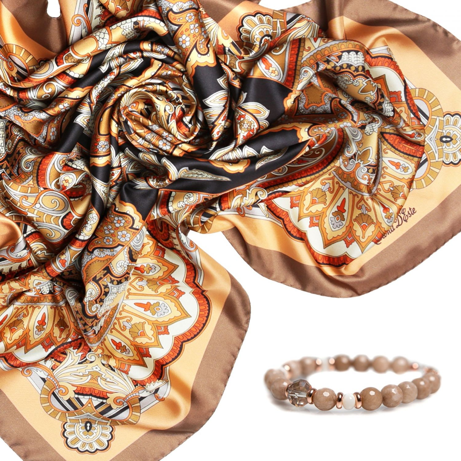 Gift: Silk scarf Carnaby Street and coffee agate bracelet