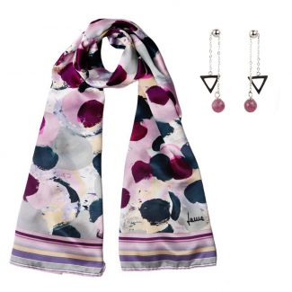 Gift: Silk shawl Laura Biagiotti Fuzzy Rose Areys and Ruby with sliding necklace silver earrings