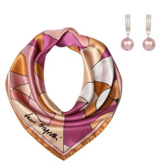 Gift: Abstract terra pastel Silk scarf and Swarovski Lovely Pearls silver earrings