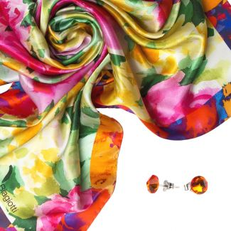 Gift: Desire pink Silk scarf and Swarovski Fireopal silver earrings