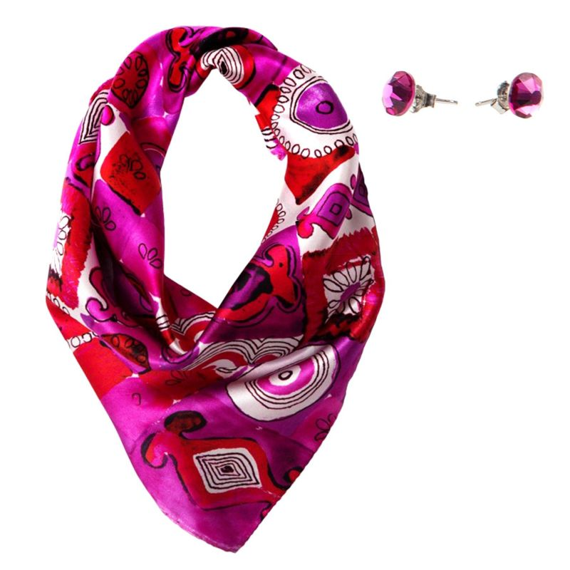 Gift: Jeux de société fucsia Silk scarf and Swarovski Fuchsia silver earrings