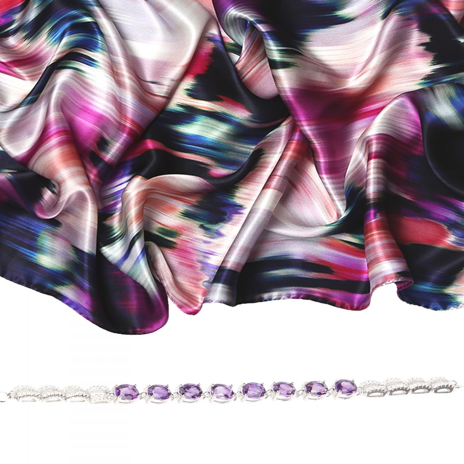 Gift: Silk shawl Laura Biagiotti Water lilies fucsia and Amethyst High Quality silver bracelet