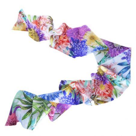 Eşarfă mătase naturală flori roz, lila, galbene
