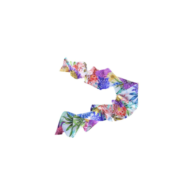 Eşarfă flori roz, lila & galben