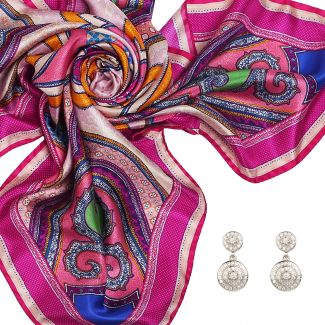 Gift: Imperial dream fucsia Silk scarf and Good Vibes silver earrings