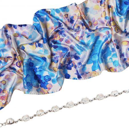 Gift: Silk shawl Laura Biagiotti Air du printemps blue and Moon Stone High Quality silver bracelet