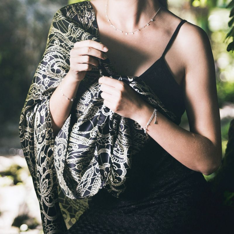 Silk shawl Laura Biagiotti Ballroom time black