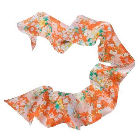 Eşarfa mătase naturală flori piersică