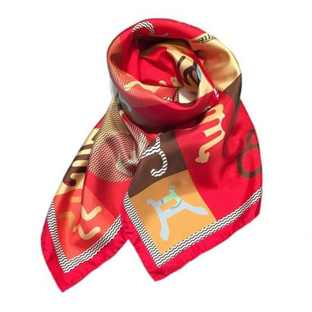RR Zodiaco Red silk scarf