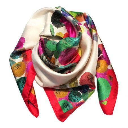 RR Zinnie Red silk scarf