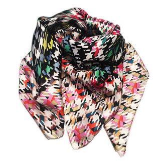 RR Pied de Poule White silk scarf