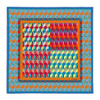 RR Newcube blue silk scarf