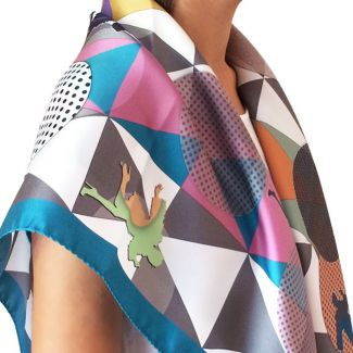 RR Escape Blue silk scarf