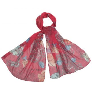 Silk shawl georgette Laura Biagiotti Tokio spring red