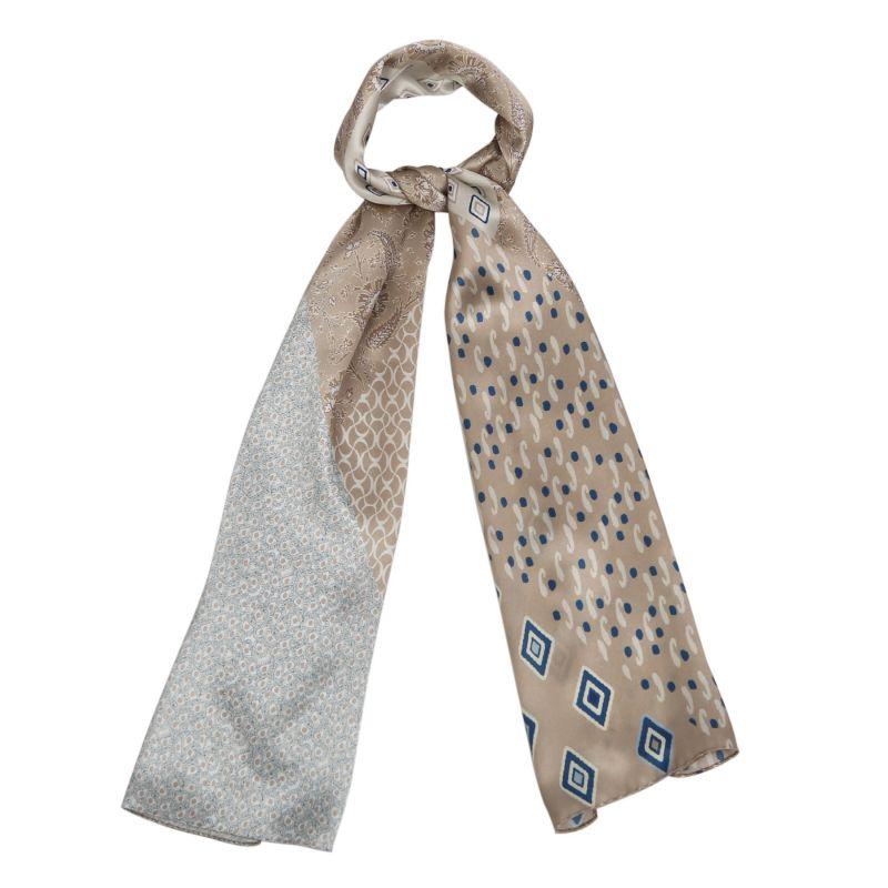 Silk shawl Marina D'Este Eclectic Print Soft Beige