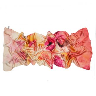 Silk shawl Marina D'Este Bed of Roses Coral