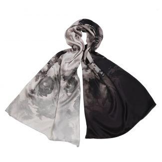 Silk shawl Marina D'Este Bed of Roses Pearl Grey