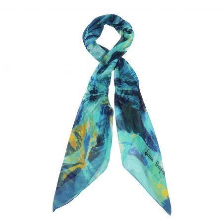 Turcoise irises georgette silk scarf