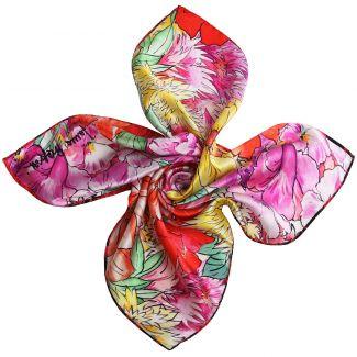 Exuberance coral silk scarf