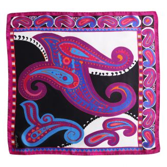 Solitude fuchsia-blue silk scarf
