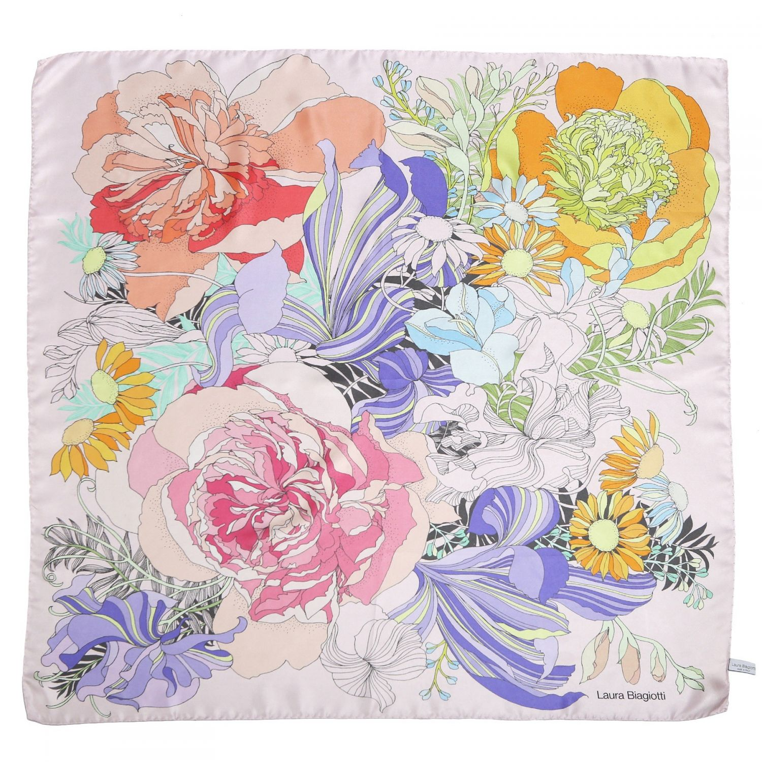 Japanese flowers pale pink silk scarf