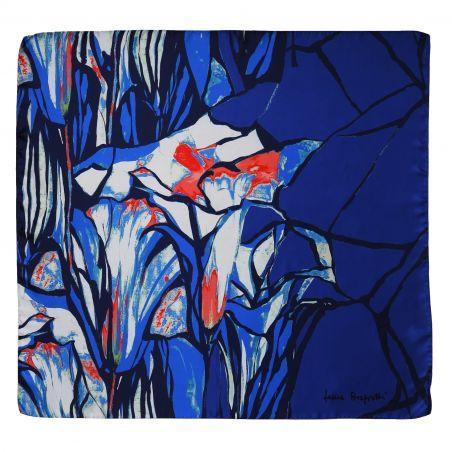 Au bord de la mer blue silk scarf