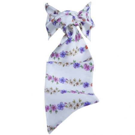 Luxury gifts: natural designer silk frill scarf with bow-knotted headband.