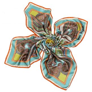 Imperial dream turcoise-olive silk scarf