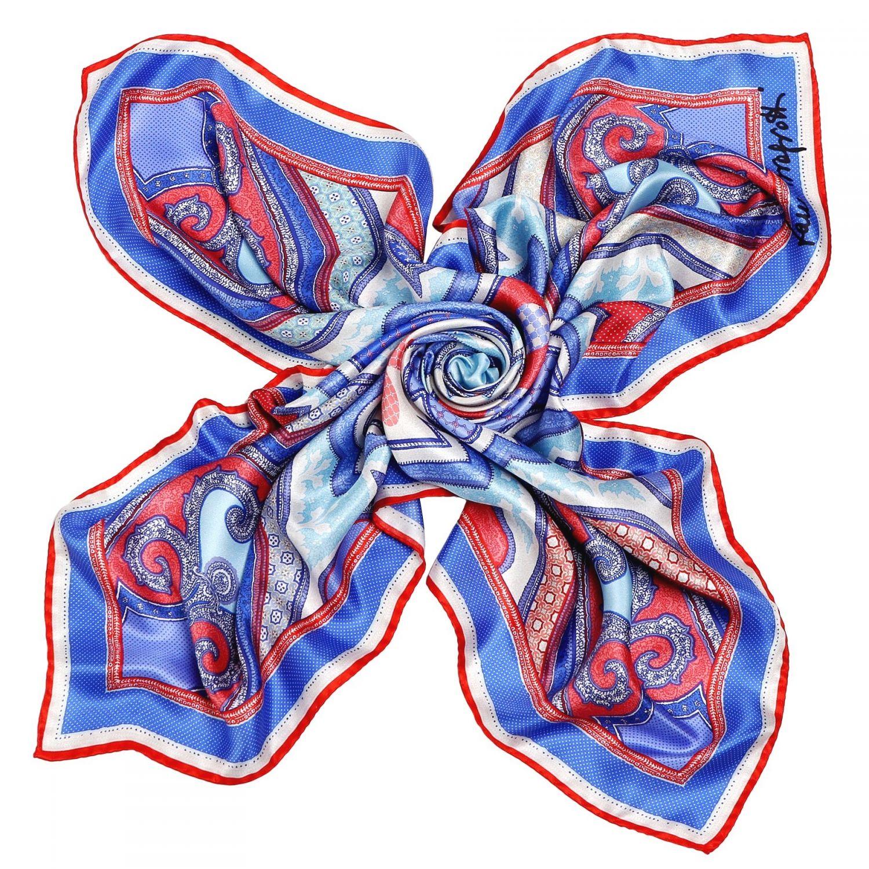 Imperial dream coral-blue silk scarf