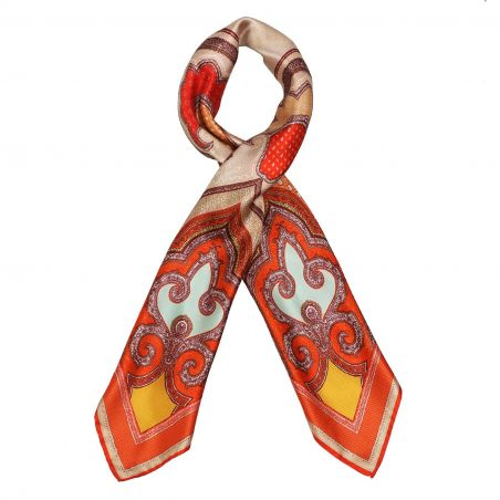 Imperial dream orange silk scarf