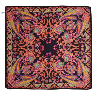 Caspian sunset black silk scarf