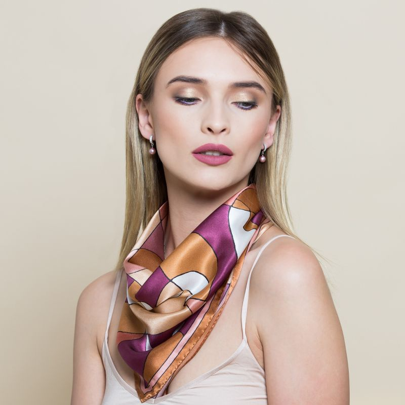 Abstract terra pastel Silk scarf