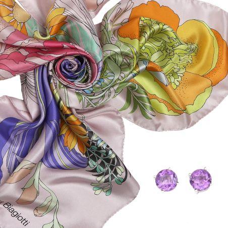 Cadou: Esarfa matase Japanese flowers pale pink si Cercei argint Ametist High Quality