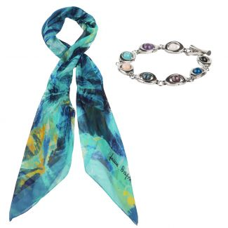 Gift: Turcoise irises georgette silk scarf and Mixed gemstone beads bracelet