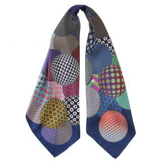 RR Palline Blue Dark silk scarf