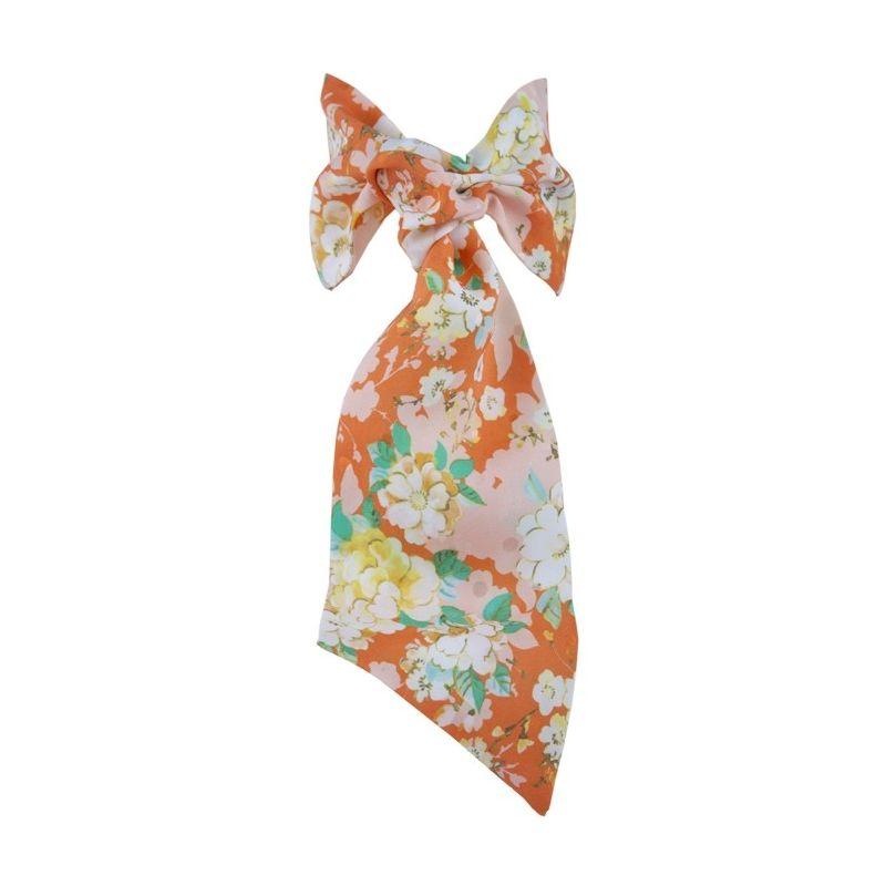 Eşarfă cu volan Ungaro flori piersică