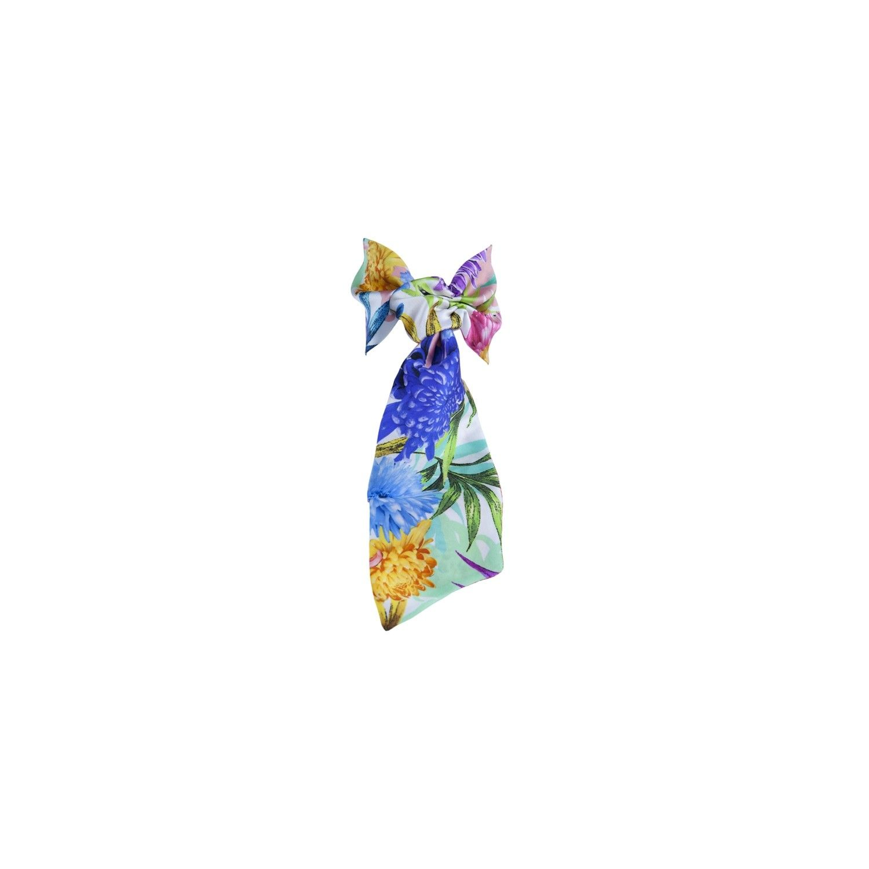 Eşarfă cu volan flori roz, lila, galbene